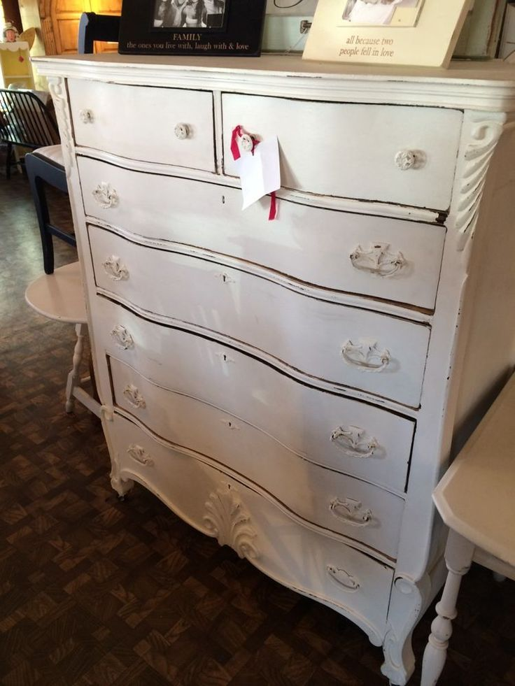 Vintage Shabby Chic Painted Off White Tall Chest of Drawers Dresser !!SALE!!