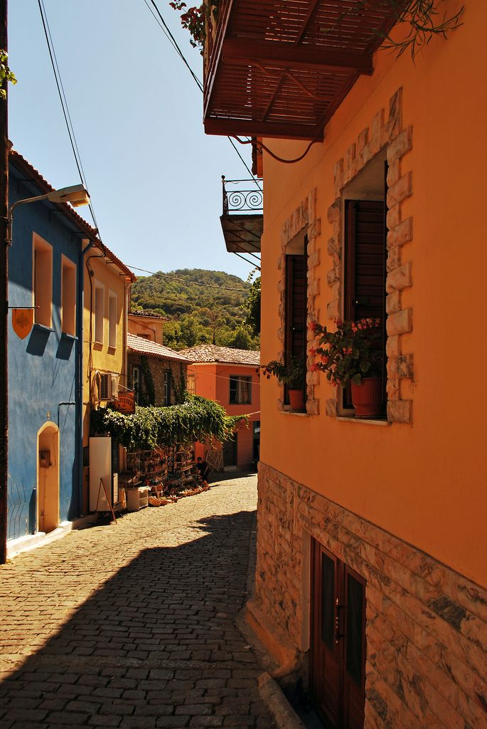 Agiasos is a small town n a former municipality on de island of Lesvos, North Aegean_ Greece