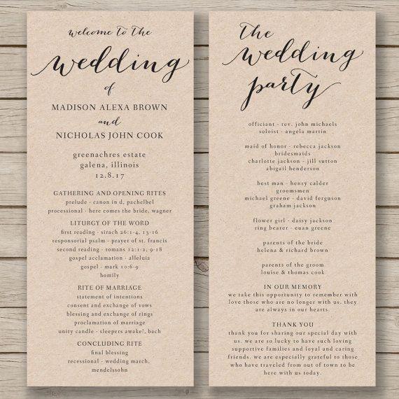 Wedding Program Template  Printable by HopeStreetPrintables