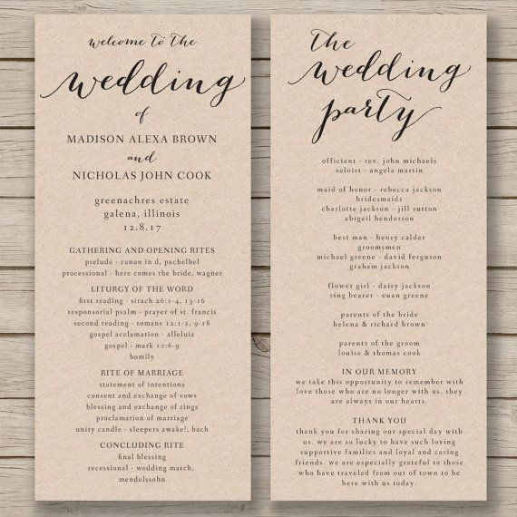 Wedding Program Template - Printable Wedding Program - DIY Editable Order of Service - EDITABLE by YOU in Word - print on Kraft