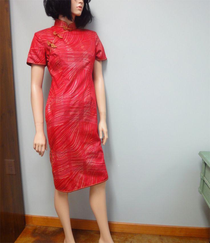 Vintage 70er Jahre asiatische Wiggle Kleid Rot von StelmaDesigns