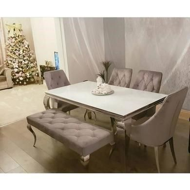 cfcb188aca Louis Mirrored Dining Table with 4 Grey Chairs and Bench in Velvet ...