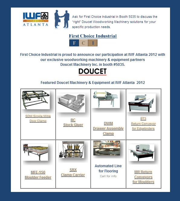 "in Booth 5035 to discuss the ""right"" Doucet Woodworking Machinery ..."