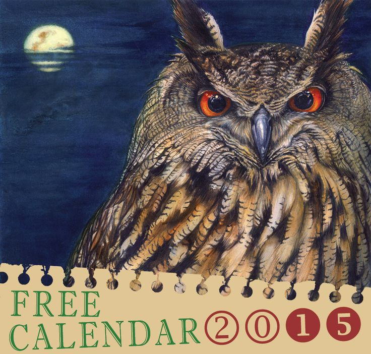 Get your FREE Owl lover 2015 Calendar with designs from over 40 artists. Download and print now!