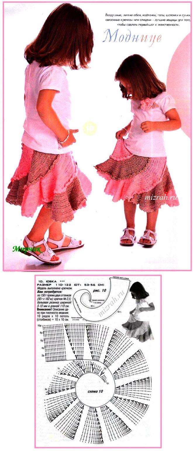 Для юных модниц (рост 110 - 122 см): юбочка-спираль крючком | Дневник Иримед