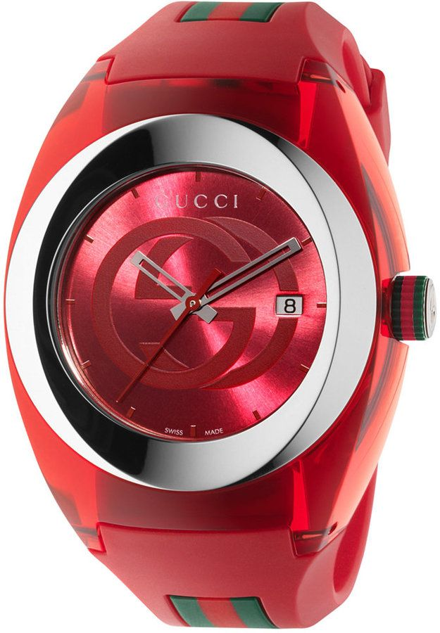 Gucci Sync Unisex Swiss Red and Green Rubber Strap Watch 46mm YA137103