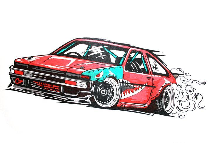 toyota corolla ae-86 drift car illustration