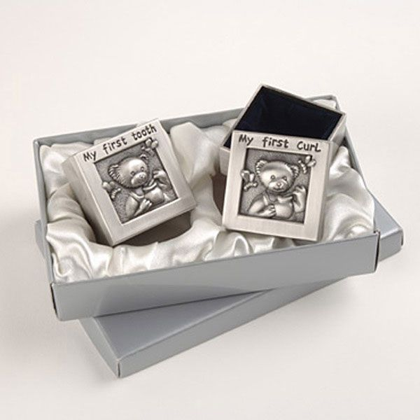 """""""My First Curl"""" and """"My First Tooth"""" Baby Keepsake Boxes"""