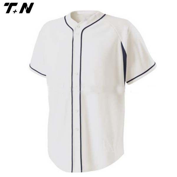 Claro blanco de la raya botón abajo poleras beisbol al por mayor, Camisetas de béisbol