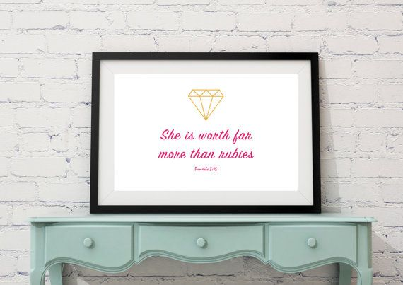 Instant Download 'She is worth far more than by LittlePenguinStore