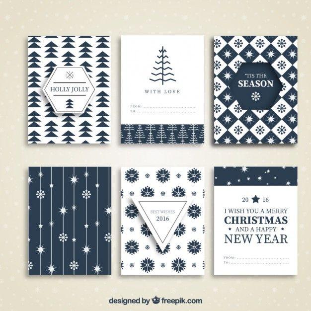 ブルークリスマスカードのコレクション 無料ベクター