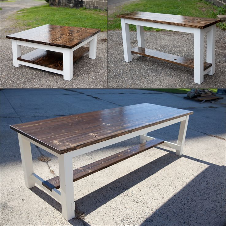 Farmhouse table dining set. 8' stretcher table with dark ...