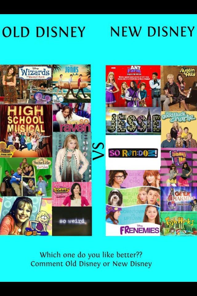 Disney Channel. <3 'Wizards of Waverly Place'. ' Hannah Montana'. 'High School Musical'. 'Sonny With A Chance'. 'JONAS L.A.'. Oh yeah, some of my fave shows are on the 'Old Disney' list!