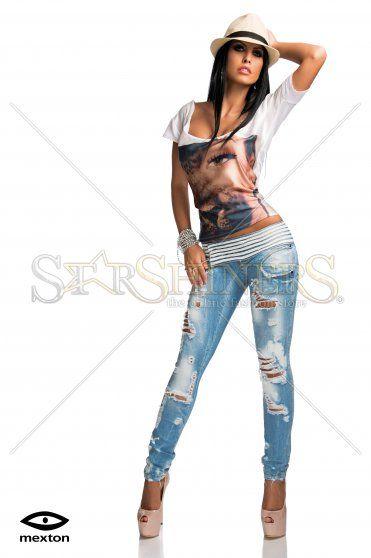 Jeans Mexton Leather Lines Blue