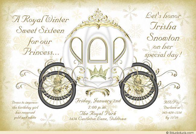 Royal Winter Golden Crown Princess Invitation Design