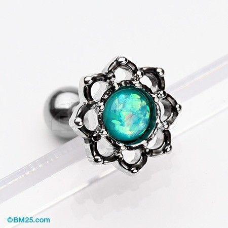 Lotus Opal Sparkle Filigree Cartilage Tragus Earring