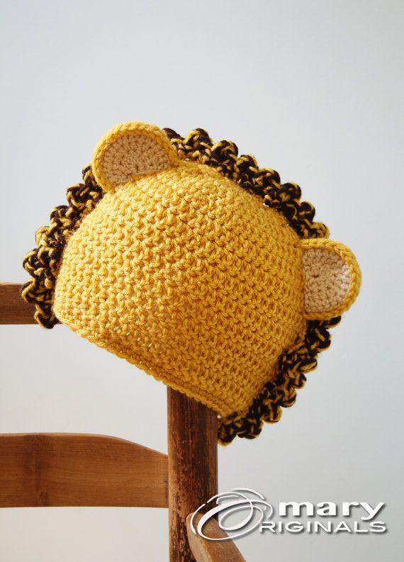 ライオン帽子動物の帽子大きな猫は猫帽子かぎ針編みビーニー男の子女の子男性女性ホリデー by MaryOriginals