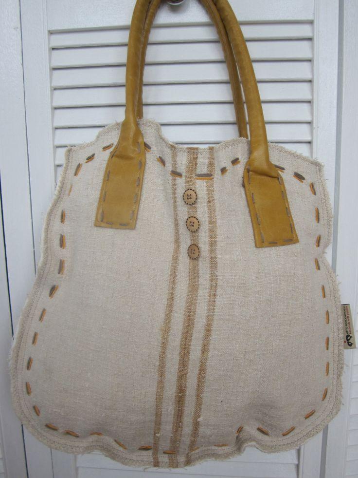 Grain sack tote bag, caramel stripes