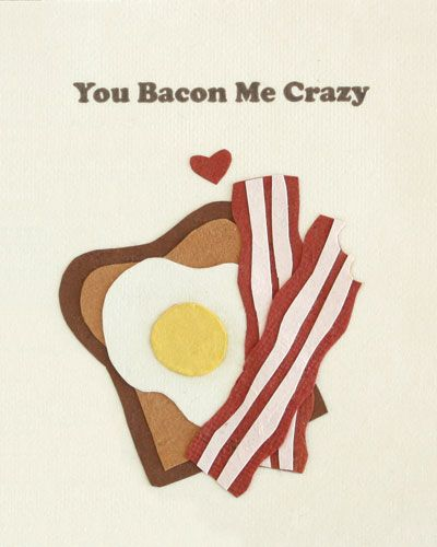 """Our """"Bacon Me Crazy"""" card is lovingly handcrafted in the Philippines by women survivors of sex trafficking. The card incorporates a variety of handmade, recycled papers, making it environmentally sustainable, too."""