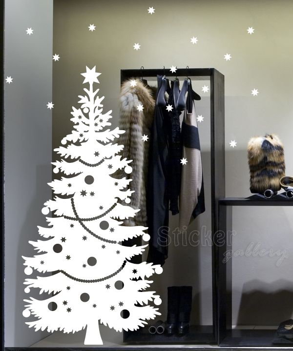 Decorate Shop Windows with Christmas themed stickers...