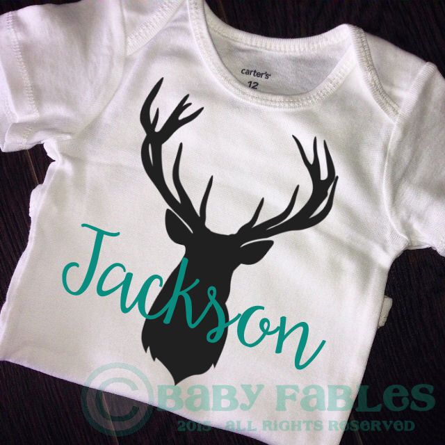 PERSONALIZED deer head Baby Boy bodysuit, black and teal blue baby shirt, baby boy announcement, Take Home Outfit, Newborn baby, Antlers by babyfables on Etsy https://www.etsy.com/listing/239973485/personalized-deer-head-baby-boy-bodysuit