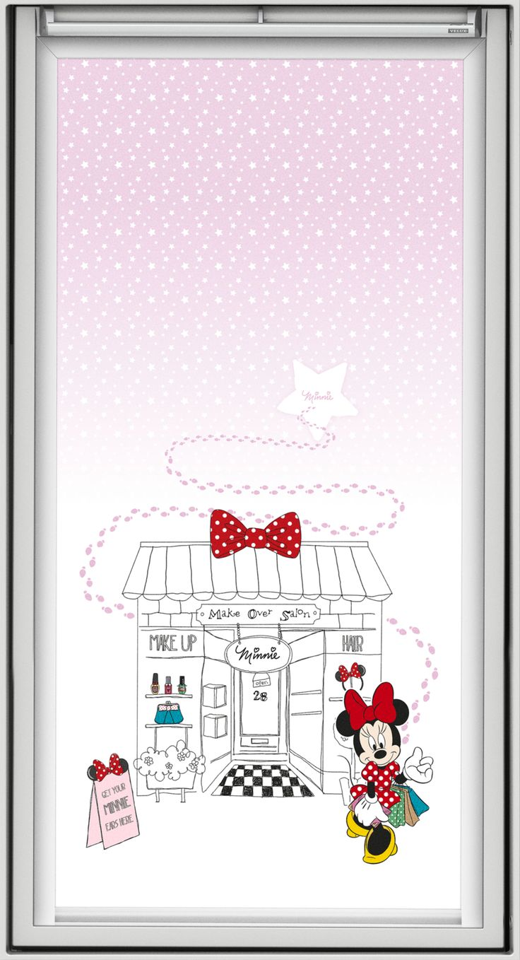 "Minnie Maus ist temperamentvoll und liebenswürdig. Sie verzaubert Mädchenträume und hat ihren Platz auf zwei Dekoren der VELUX Verdunkelungs-Rollos im Disney-Design. Bildquelle: © Disney. © Disney. Based on the ""Winnie the Pooh"" works by A. A. Milne and E. H. Shepard."