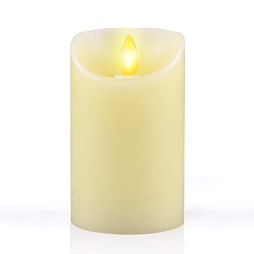 """Flameless Led Candle iDOO [ Real Wax] Battery Operated Dripless Flameless Flickering Dancing Led Pillar Candle with Velvety Vanilla Scented for Home Party Halloween Wedding Decor - 3"""" x 5"""" - Cream"""