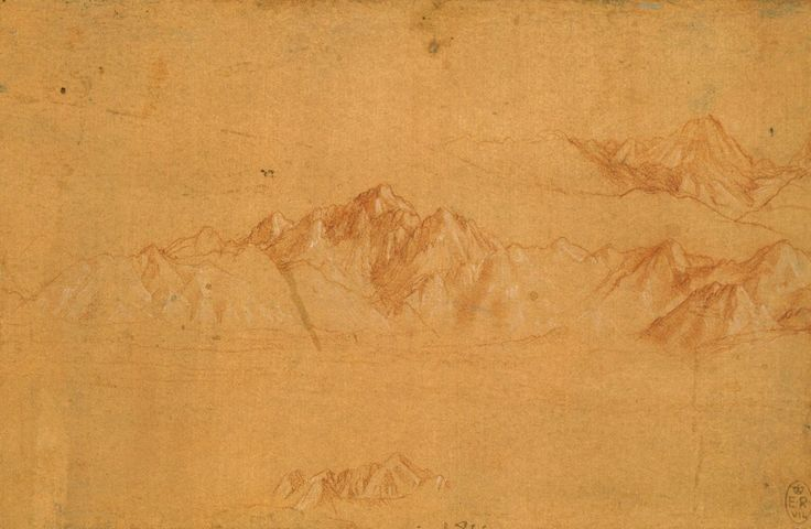 Leonardo da Vinci, 1452-1519, Italian, The Alps seen from Milan, c.1510-11. Red chalk with white heightening on pale red prepared paper, 10.5 x 16 cm. Royal Collection Trust, Windsor. High Renaissance.