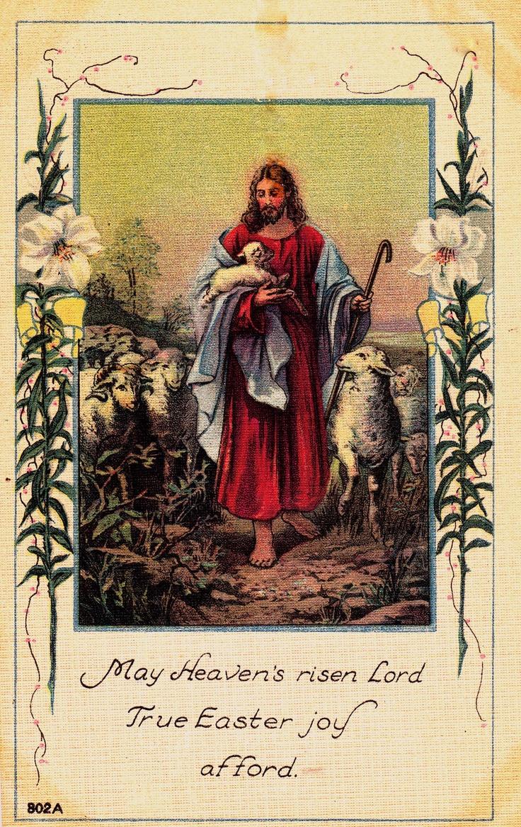 Easter decorating. vintage Easter postcard image. Jesus holding lamb.Christian decorating. whateverislovely.com