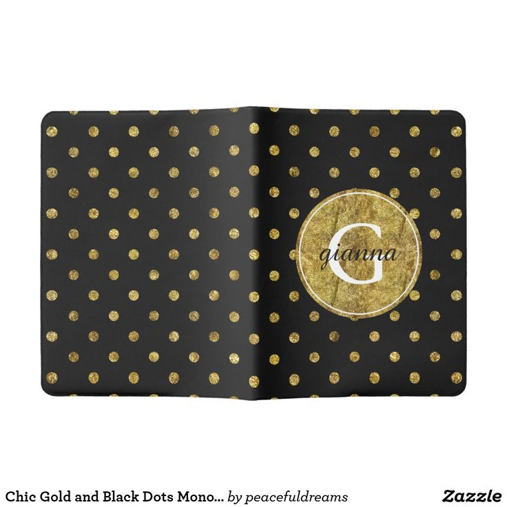 Chic Gold And Black Dots Monogram Extra Large Moleskine Notebook
