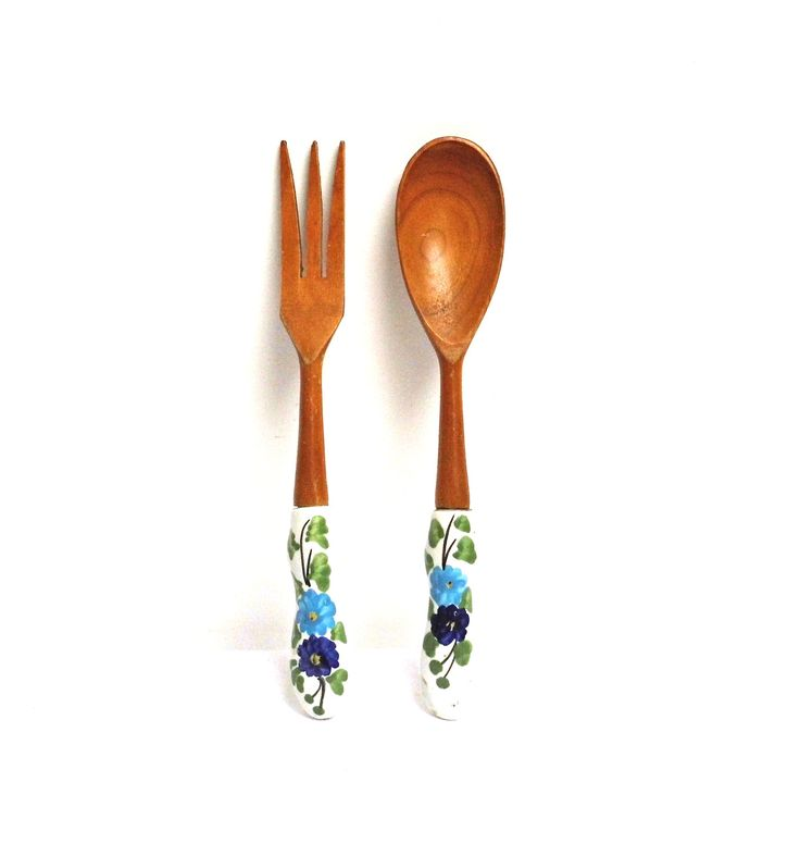 Vintage Salad Server Wooden Spoon Fork White Ceramic Handle Floral Blue Green Mixing Serving Utensils Kitchen Gadgets Farmhouse Decor Italy by WoodHistory on Etsy