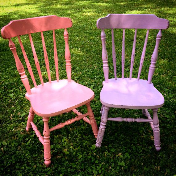 Custom Painted and Distressed Wood Farm Chair by WildBoarDesigns