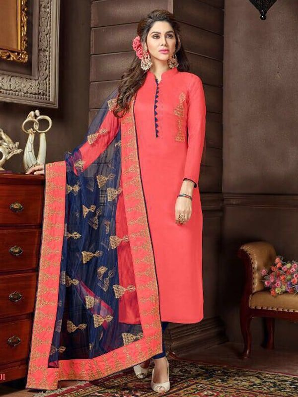 6dbf97be58 Embroidered Rayon Cotton Kameez Style Suit in Strawberry in 2019 ...