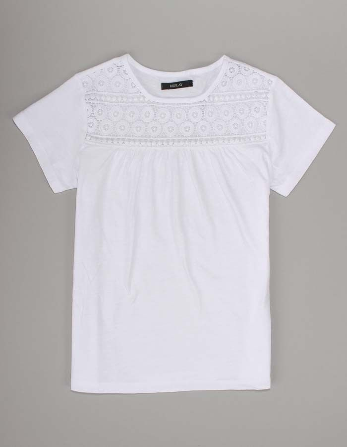 Replay White Embroidered T-shirt | Accent Clothing