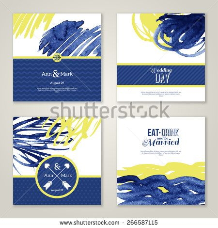 Set of watercolor romantic wedding invitations. Vector illustration. Hand drawn design elements in marine style. Save the date cards. Blue and yellow colors. Menu design.