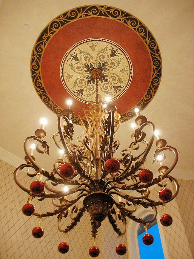 Paint the space between your ceiling medallion and ring a bold color to add some serious contrast. http://www.ArchitecturalBling.com