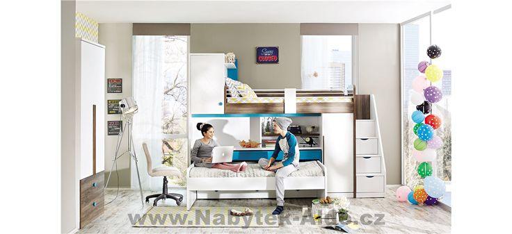 Patrová postel se schody pro dvě i tři děti