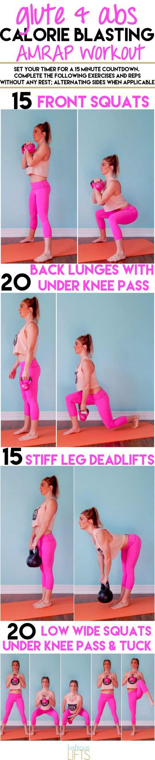 15 minute Glute and Abs Calorie Blasting AMRAP Workout    lushiouslifts.com