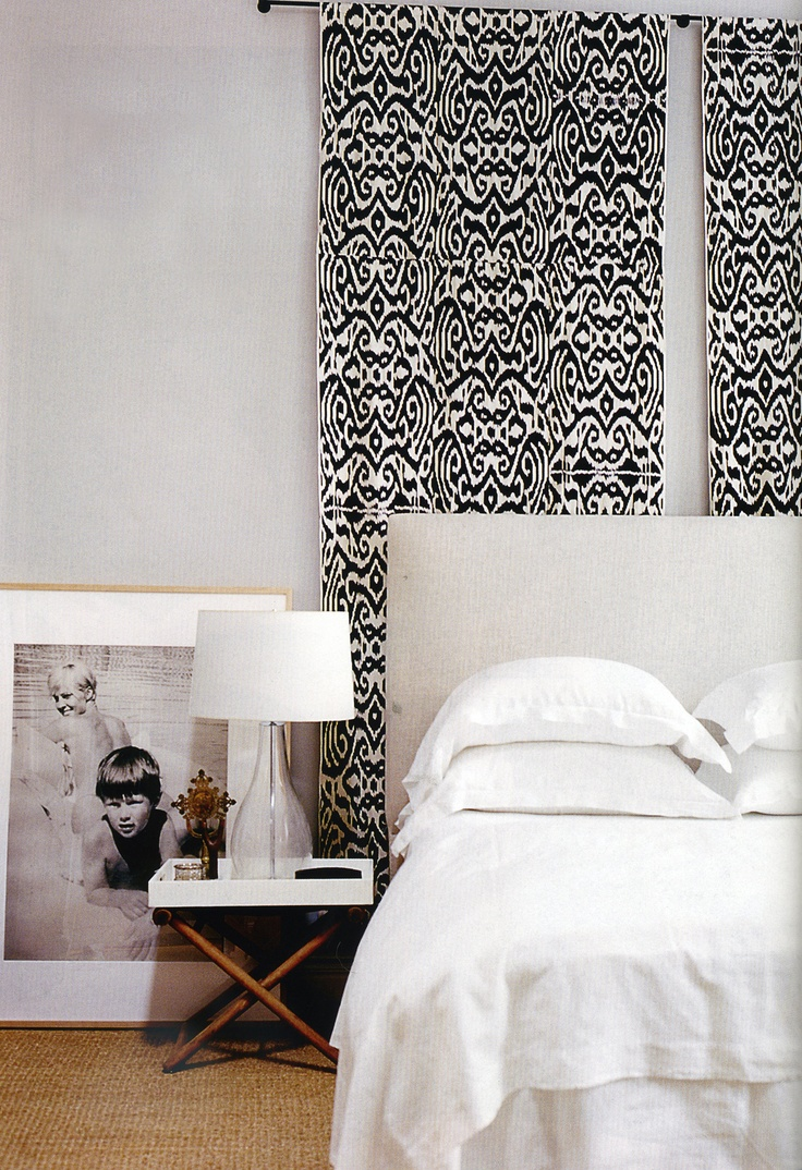 wall hanging behind bed Madeline Weinrib Black Luce Ikat