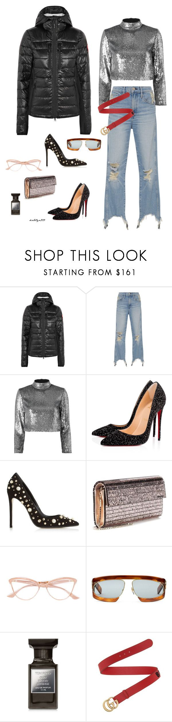 """""""I love it"""" by katelyn999 ❤ liked on Polyvore featuring Canada Goose, 3x1, A.L.C., Christian Louboutin, Dune Black, Jimmy Choo, Dita, Gucci and Tom Ford"""