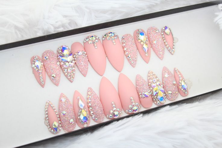Pink Swarovski Press on Nails | Genuine Swarovski | Swarovski Pixie  | AB Crystals | False Nails | Custom Shapes and Sizes by DippyCowNails on Etsy