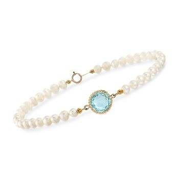 Cultured Pearl and 4.50 Carat Blue Topaz Bracelet in 14kt Yellow Gold. 7.5