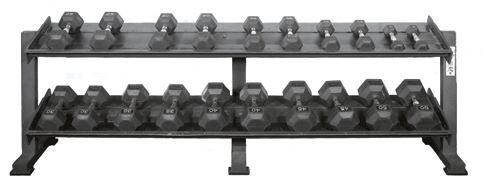 York Dumbbell Set with Rack: Dumbbells range from 5-50 lbs. in 5 lb. increments.