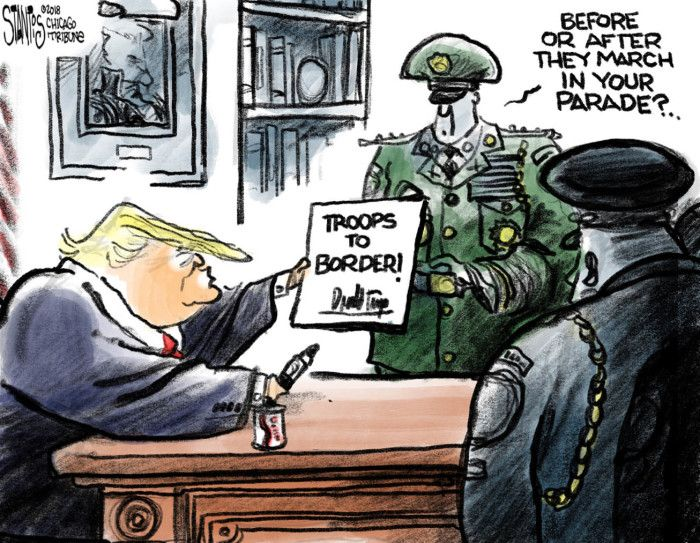 Political cartoon U.S. Trump Mexico border troops military parade ...