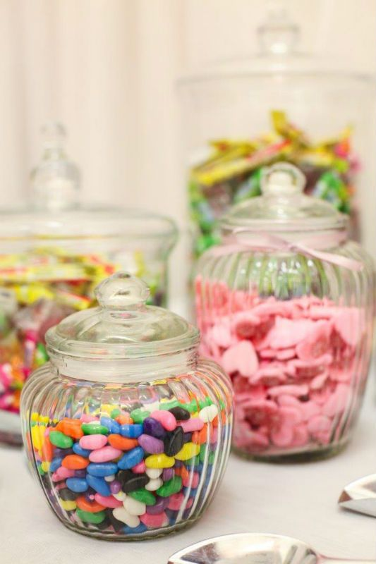 Sweety Table, Sweets, Glass Jars. Scoops