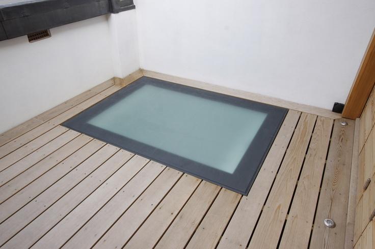 Translucent IQ Glass Flush Walk-on Rooflight on roof terrace