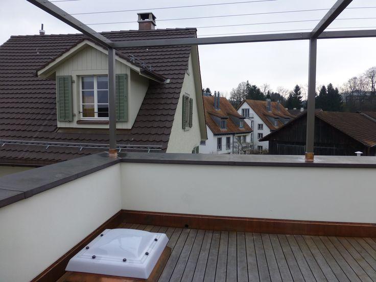 Gesamtüberbauung Bergwerkstrasse Horgen - Terrasse mit Pergola