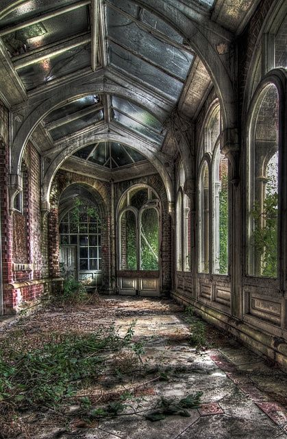 Abandoned school conservatory  This place has so much potential, all it needs is a little love.  I love conservatories, if I had one, I'd could spend all my time in it doing everything I have to, and surround myself with plants and flowers and light.  I don't know who's work this is, but I love it, thank you.