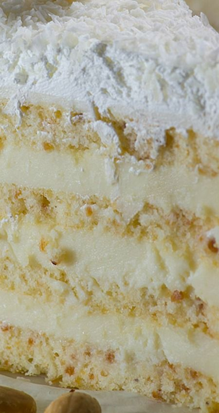 Almond Coconut Cake ~ A delicious blend of almond, coconut, white chocolate and lemon flavors.
