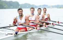 July 14 - Rowing - Men's - Quadruple Sculls.  Canada's Rob Gibson, Will Dean, Julien Bahain and Matthew Buie  - Gold.  Canada celebrates winning the gold medal in the men's quadruple sculls during the 2015 Pan Am Games at Royal Canadian Henley Rowing Course.